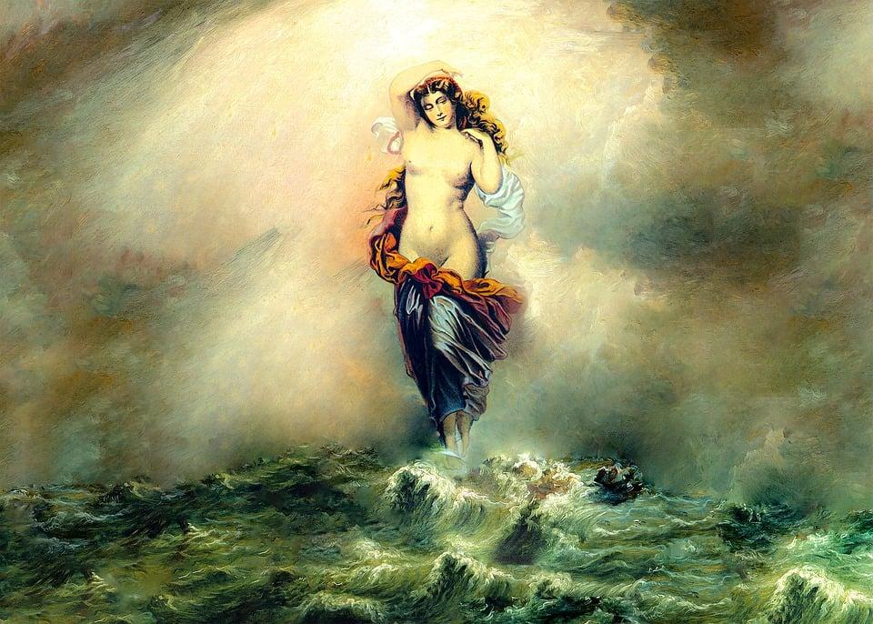 Nő, Istennő, Tengeri, Ocean, Vihar, Akt, Felnőtt