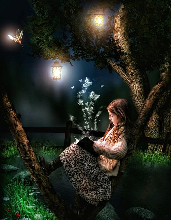 Girl, Tree, Lamp, Sitting, Book, Fireflies