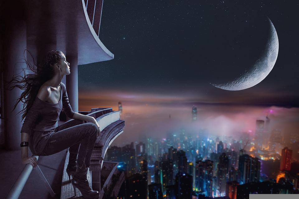 Girl, Cityscape, Moon, Fantasy, Skyline, Skyscrapers