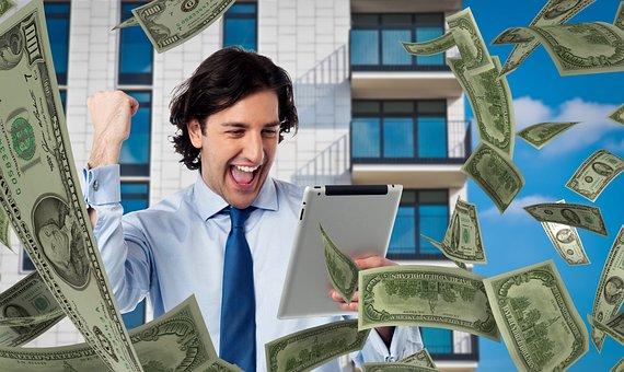 男, お金, タブレット, ベット, 成功, 勝利, 宝くじ, ジャック ポット