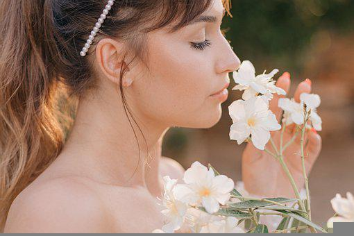 Woman, Flowers, Portrait, Girl, Female