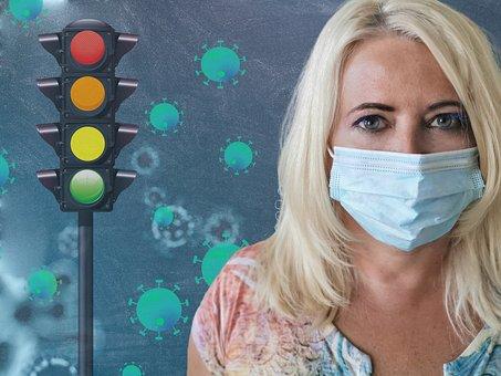 トラフィック ライト, Coronavirus, 先生, 女性, 口ガード