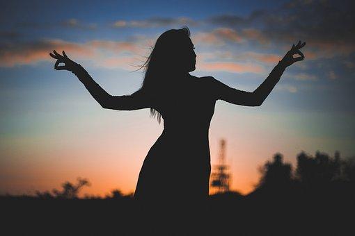 シルエット, 女性, サンセット, 空, 瞑想, ヨガ, くつろぎ, インド