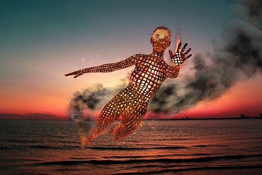 Body, Spirit, Fire, Smoke, Sunset