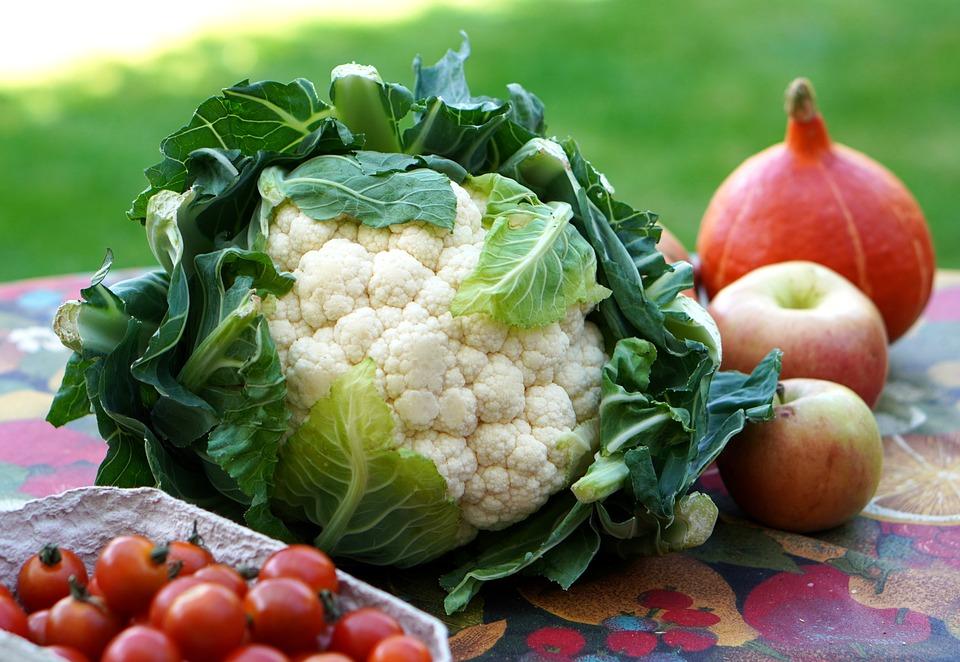 Cauliflower, Tomatoes, Apples, Cherry Tomatoes, Pumpkin
