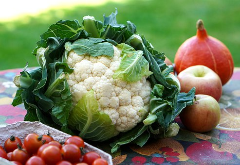 Cauliflower, Tomatoes, Apples