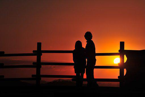 Sunset, Couple, Silhouette, Fence