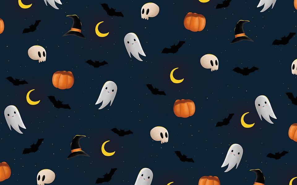 Ghost, Pumpkin, Skull, Bat, Halloween, Spooky, Creepy