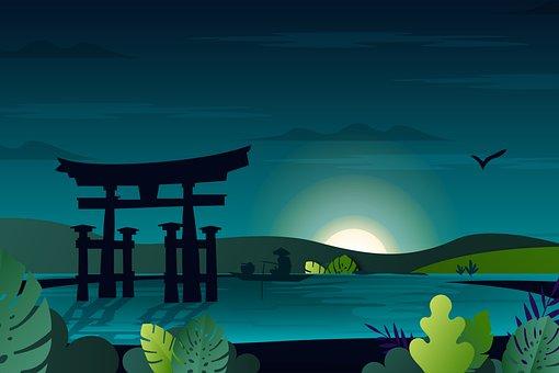 湖, 釣り, 鳥居, 神社, 日本の神社, 自然, 漁師, ボート, 川, 田舎