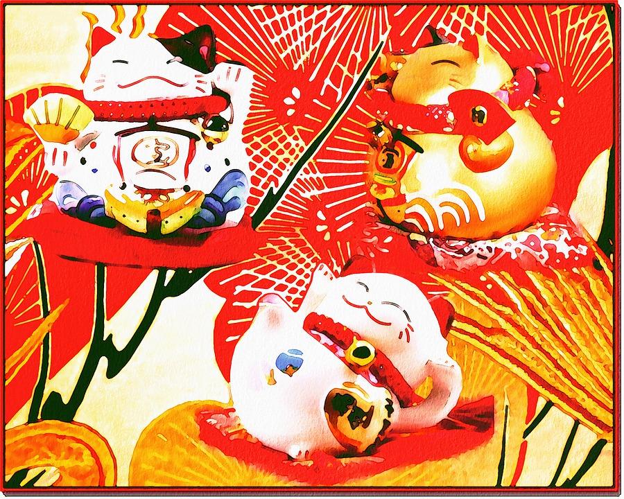 แมว, Maneki-Neko, ตัวเลข, โชค, ญี่ปุ่น, สีน้ำ, ทอง