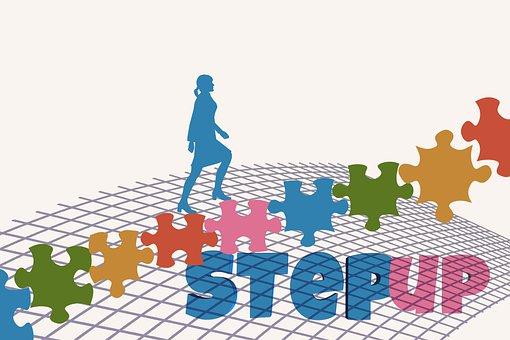 階段, パズル, 女性実業家, キャリア, 手順, 成功, パズルのピース