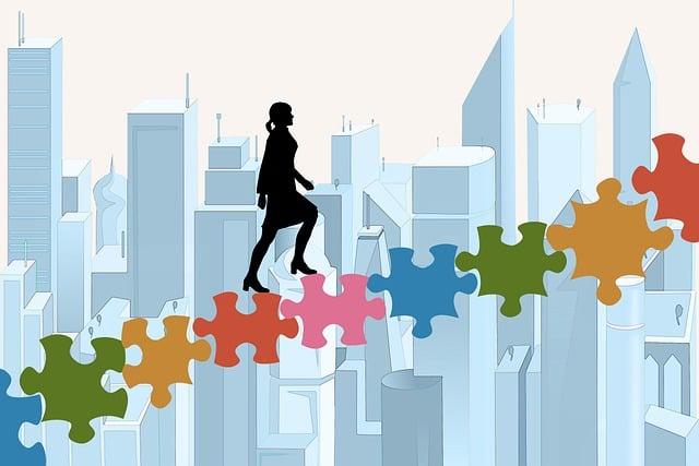 階段, パズル, 女性実業家, キャリア, 手順, 成功, パズルのピース, 上昇, 事務員, ビジネス