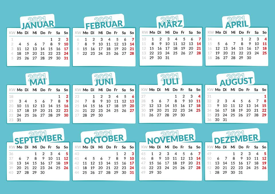 Kalender, 2021, Monate, Jahr, Datum, Zeitplan