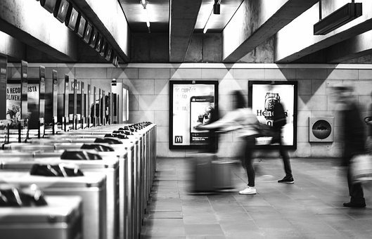 地下鉄, 駅, 鉄道駅, 地下鉄駅, 回転式改札口, トランスポート, 人