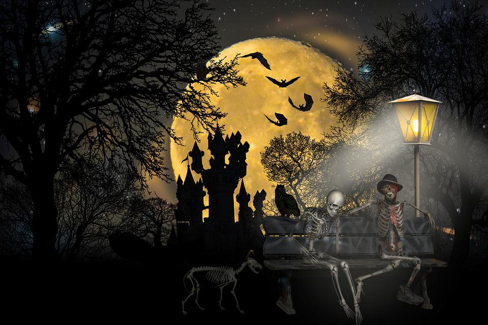 Moon, Trees, Skeletons, Castle, Silhouettes