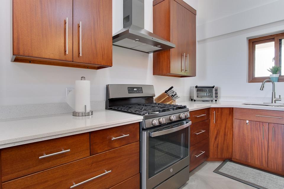 房子, 室内设计, 厨房, 台面, 首页, 家庭, 橱柜, 炉灶, 家电, 家用电器
