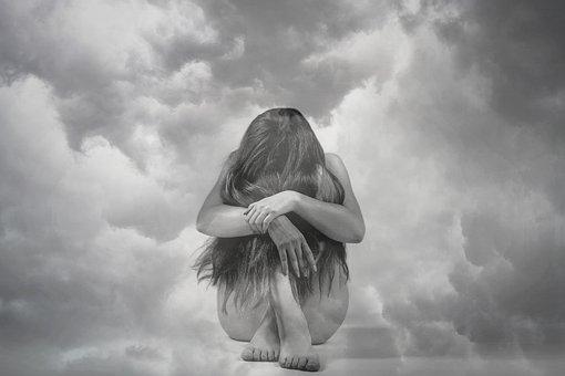 Woman, Clouds, Depression, Stress