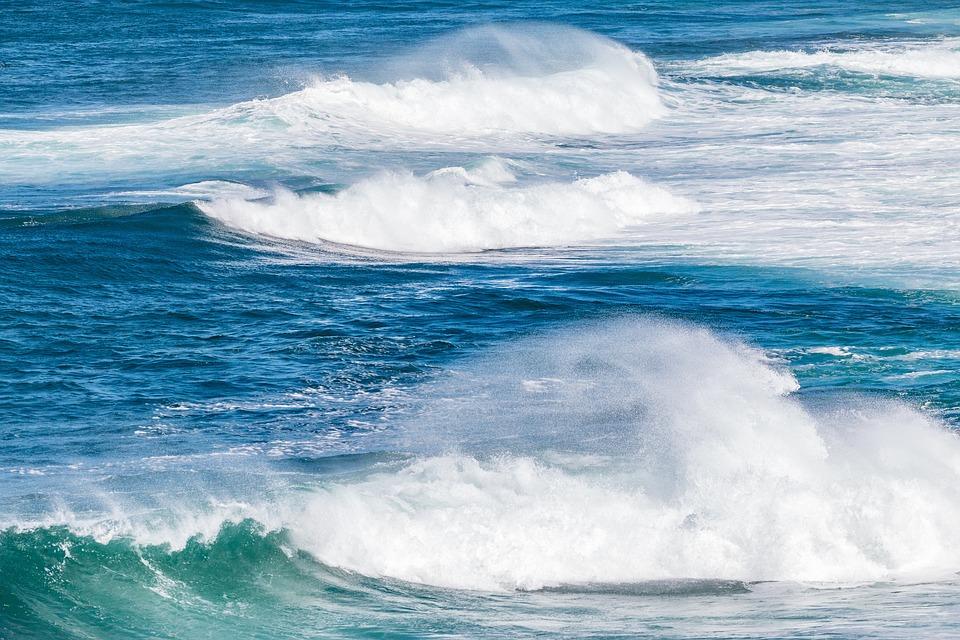 Waves, Sea, Ocean, Seascape, Tides, Blue, Spume, Mist