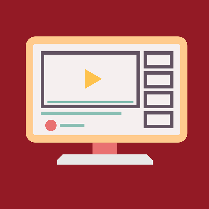 Vector graphic image of a computer monitor which has a video play screen visible in the centre-left. Several smaller rectangles are displayed to the right of the main box on-screen, indicating a playlist or videos queued up.