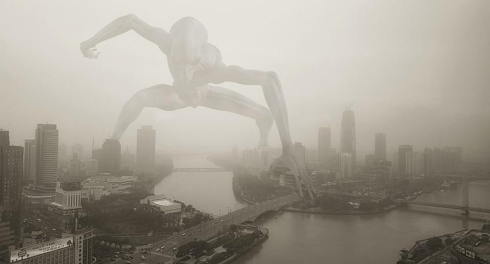 Außerirdischer, Nebel, Stadt, Riesen-Alien, Riese
