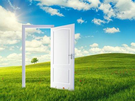Door, Field, Doorway, Opened Door, Dream