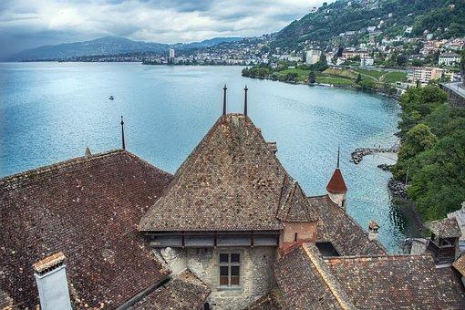Castle, Roof, Fortress, Lake, Village