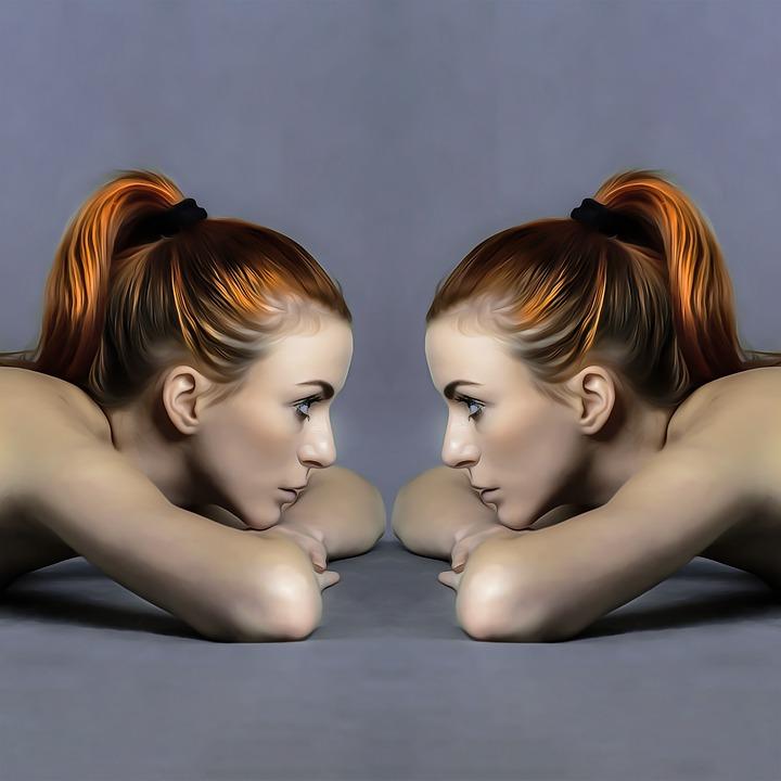 Dames, Avatar, Tweelingen, Spiegel, Spiegelbeeld, Paar