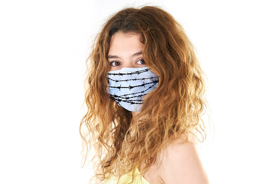 Coronavirus, Face Mask, Woman, Barbed Wire, Censorship