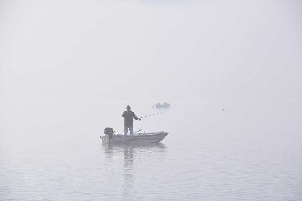 Lake, Fishing, Fog, Foggy, Mist, Fisherman, Boat, Water