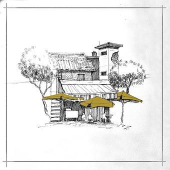 House, Trees, Sketch, Line Art