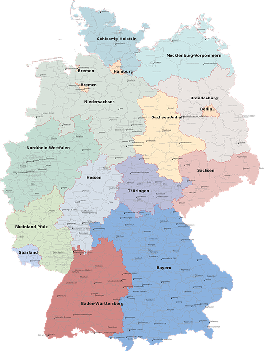 Map Germany Regions Free Vector Graphic On Pixabay