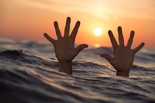 Drowning, Man, Sea, Hands, Drowning Man