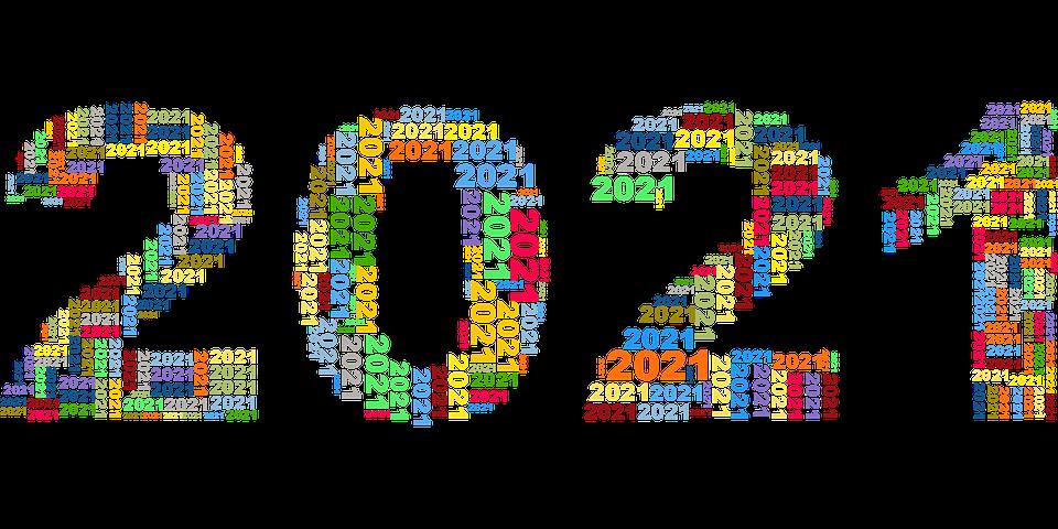 Neujahr, Kalender, 2021, Typografie, Bunte, Mehrfarbig