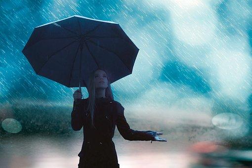 Βροχή, Κορίτσι, Ομπρέλα, Σταγόνες Βροχής