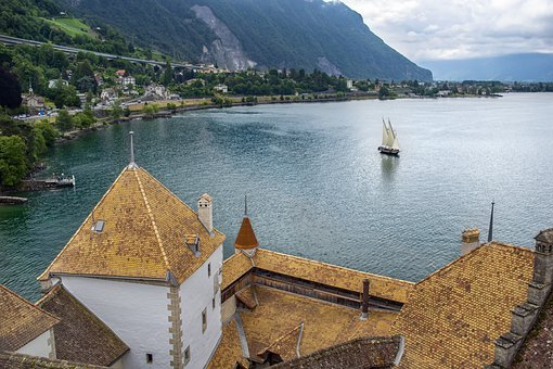 Castle, Lake, Sailboat, Roofing