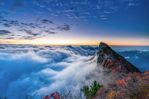 山, ピーク, 雲, 雲海, 地平線, 日の出, 朝, サミット, 秋, 紅葉