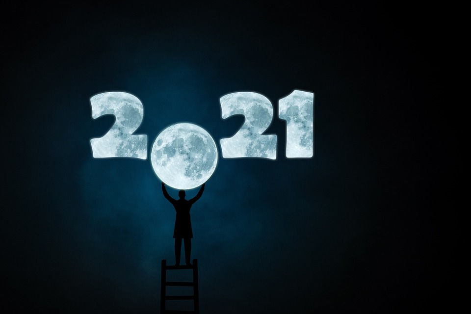 New Year, 2021, Moon, New Year'S Eve, Man, Silhouette