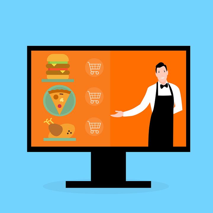 Food, Online, Delivery, Man, Waiter, Screen, Burger