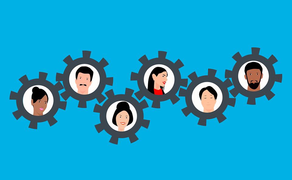 기어, 인간, 팀웍, 사람들, 다양 한, 다양성, 다문화, 팀, 협력, 개념, 사업, 화합, 돕는