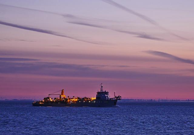 Ship River Sunrise Working Ship