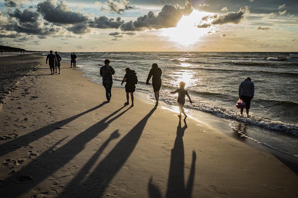 Beach, Ludzie, Morze, Piasek, Ślady, Walking