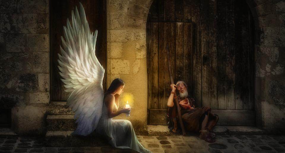 Engel, Bedelaars, Kaars, Licht, Vleugels, Kerst, Liefde