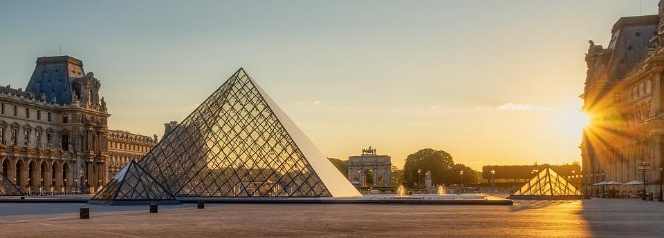 Louvre, Museum, Pyramid, Building, Facade, Paris