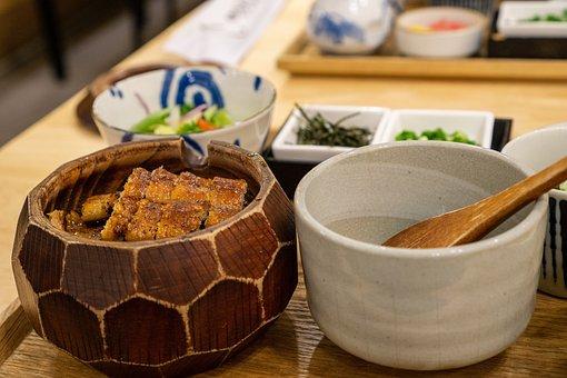 食事, 成分, テーブル, 米, ウナギ, ひつまぶし, 日本, 日本食, 料理