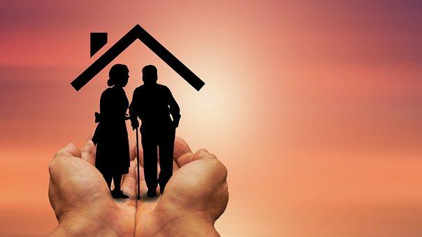 Mains, Maison, Couple, Personnes Âgées