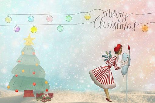Merry Christmas, Woman, Mail, Tree, Star