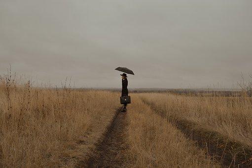 Woman, Mysterious, Field, Road, Meadow