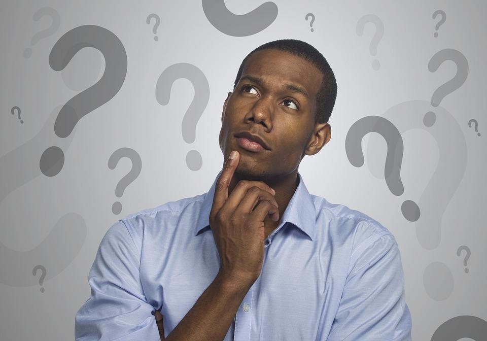 男, 思考, 疑い, 質問, マーク, アイデア, 問題, 意思決定, 創造的です, Faq, 情報