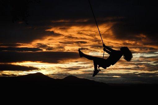 日没, ロープ スイング, 雲, メモリ, 小児期, 喜び, フィールド, 空