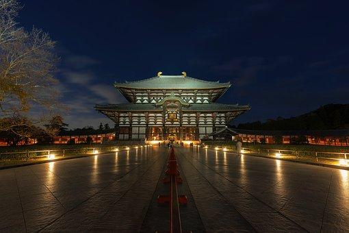 夜景, 建築物, 寺, 東大寺, 大仏殿, 世界最大の木造建築物, 世界文化遺産